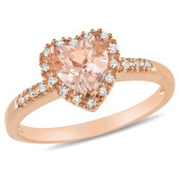 Pink Silver 5/8 CT TGW Morganite 1/10 CT TDW Diamond Heart Ring (H-I, I3)