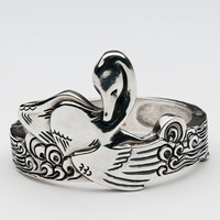 Solid 925 silver Bathing Swan bracelet on hinges by JewelrySavenko