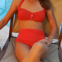 diva Kini   The bottoms up bathing suit  vintage look  in Red.
