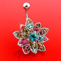 Genuine Crystals Set Flower Hinged Barbell Dangle Belly Button Ring Navel B106