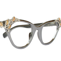 Vines & Leaves Grey Tura Cat Eye Glasses by momandpopsvintage