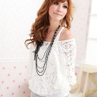 Women's Twinset White Off-shoulder Hollow Out Lace Poncho Camisole T-shirt Top