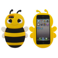 Yellow Cute 3D Bee Soft Silicone Gel Skin Case Cover for Apple iPhone 5 5G
