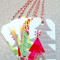 FREE SHIPPING 6 Christmas Tree Gift Tags by VintageWoods on Etsy