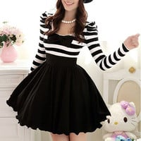 2012 New Women&#x27;s Winter Black And White Striped Bubble Long-Sleeved Dress With Embedded Chiffon Bowknot Decoration - 12733892632