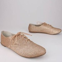 lace-up glitter oxford $20.30 in BLACK CHAMP SILVER - Flats | GoJane.com