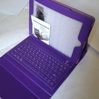 Leather Case Built-In Wireless Bluethooth Keyboard for iPad1, 2, 3 - deep purple