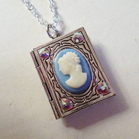 Mini Silver Engraved Book Locket with Baby Blue by LaPlumeNoir