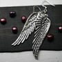 Angel Wing Earrings Silver Dangly Steampunk by robinhoodcouture
