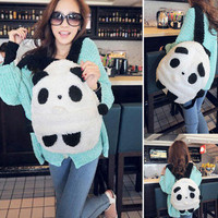 CUTE PANDA PLUSH SHOULDER HAND COTTON BAG BACKPACK #E