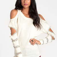 No Mistakes Studded Cutout Sweater by Reverse - $59.00 : ThreadSence, Women&#x27;s Indie &amp; Bohemian Clothing, Dresses, &amp; Accessories