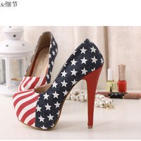 LADIES WOMENS AMERICAN FLAG HIGH HEEL PLATFORM LACE UP ANKLE BOOT SHOE SZ 3-8