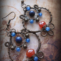 Wire Wrapped Copper Leaf  Earrings - Frida Kahlo Inspired (hammered, oxidized, stones, easter, hippie, indigo, orange)