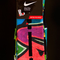 Thesockgame.com  Miami South Beach Graffiti - Custom Nike Elite Socks - Inspired by Nike LeBron 10 shoes