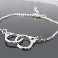 handcuffs bracelet  simple charm for by jewelrycraftstudio on Etsy