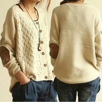 Vintage Cross flower Type Sleeve Patch Loose Cardigan Sweater from Showmall