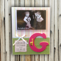 Baby Frame Custom With Birth Info and Initial - 8x10 Base With 4x6 Horizontal Photo - Wall or Tabletop Decor