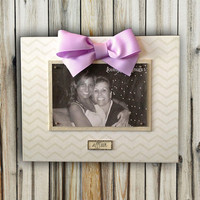 Custom Baby Name Frame - 8x10 Base With 4x6 Horizontal Magnetic Photo Holder - Wall or Tabletop Decor