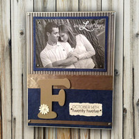 Wedding Frame Custom With Last Name Letter - 9x12 Base With 5x7 Horizontal Magnetic Photo Holder - Wall or Tabletop Decor
