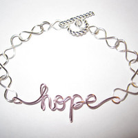 Pink Hope Infinity Bracelet Silver Wire Wrapped Inspirational Unique Gifts