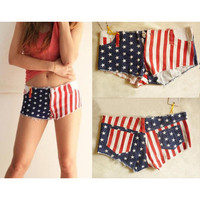 Star And Stripe Denim Shorts