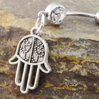 Hamsa Belly Button Ring Jewelry by MidnightsMojo on Etsy