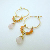 orange aventurine and rose quartz hoops - 14k gold filled earrings - orange earrings - artisan jewelry