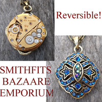 "Clockpunk Steampunk Reversible Necklace, ""Russian Blue Lily"": Brass Watch Movement & Crystal Pendant on Antiqued Brass Modified Cable Link"