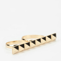 Studded Double-Finger Ring