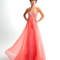 Mac Duggal Prom 2013 - Light Coral Halter Gown With Rhinestone Embellishments - Unique Vintage - Cocktail, Pinup, Holiday &amp; Prom Dresses.
