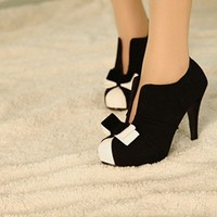 Black &amp; White Tie Ankle Heels