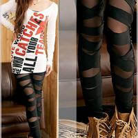 Bandage Straight Black Tights