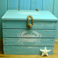Turquoise Blue Crab Crate Side Table Trunk with by CastawaysHall
