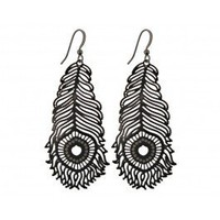 laser cut feather earrings