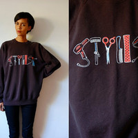 Vtg Stylist Hair Tools Printed Black Cotton Sweatshirt