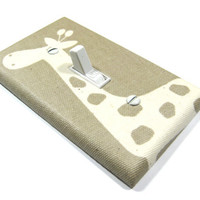 Giraffe Nursery Decor Natural on Light Brown Switch Plate Light Switch Cover Children Kids Wall Art Decoration Premier Prints Gisella 1126