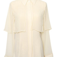 ROMWE | Semi Sheer Caped Apricot Shirt, The Latest Street Fashion