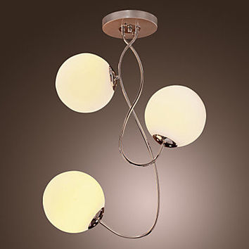 [USD $ 99.99] Contemporary Glass Chandelier with 3 lights - Ball Shape Design (Chrome Finish)