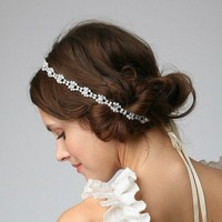 SANDRA Bridal Crystal Rhinestone Headband or by UntamedPetals