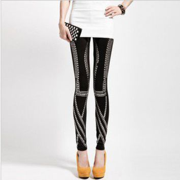 The nightclub queen rivet punk rock retro Stitching Leggings