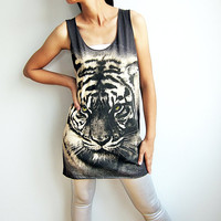 Tiger Animal Print Design Printed T Shirt Tunic Tank Top Women Singlet Dress Size M