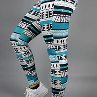 Femme Freak Aztec LeggingsTealBlack : Karmaloop.com - Global Concrete Culture