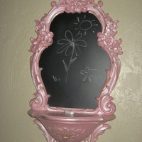 Chalkboard wall hanging / Kids / Pink / home furnishings /housewares / home decor / ornate / princess / vintage / Shabby Chic / Cottage