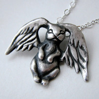 Silver bunny pendant angel wings