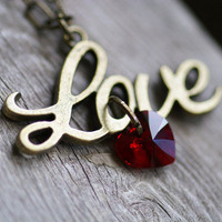Love Script Necklace - Siam Red Swarovski Crystal Heart Pendent & Vintage Brass Charm