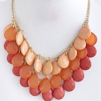 Chunky Tonal Teardrops Necklace - Coral | .H.C.B.