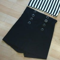Black High Waisted Shorts w/ SIlver Buttons