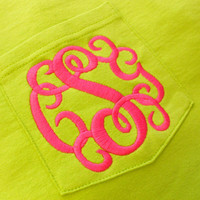 Monogram Short Sleeve Pocket Tee  Font Shown INTERLOCKING