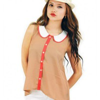 Peter Pan Collar Sleeveless Top