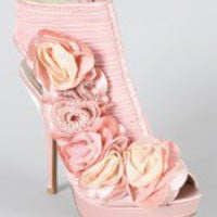 Qupid Luxe Victoria Rosette Ankle Bootie